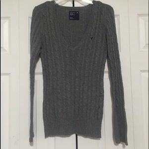 XL Gray Cable Knit Sweater